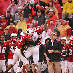 Sep 26, 2009; College Park, MD, USA; A pass sails over the reach of Rutgers wide receiver Mohamed Sanu (6) as he's defended by Maryland defensive back Antwine Perez (2) during Rutgers' 34-13 victory over Maryland in NCAA college football at Byrd Stadium.