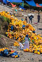 Piles of water bottles along a road in Gondar, Ethiopia.
