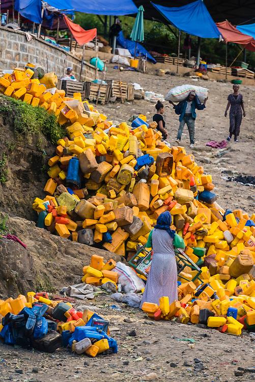 Piles of water bottles along a road in Gondar, Ethiopia.