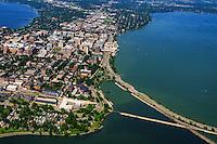 Madison Isthmus featuring John Nolen Drive on Lake Monona (foreground right)