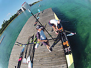 Munich, GERMANY,   GBR W2X.  Left Katherine GRAINGER and Anna WATKINS prepare to boat for thier morning training session. FISA World Cup on the Munich Olympic Rowing Course,  Thursday   14/06/2012. [Mandatory Credit Peter Spurrier/ Intersport Images]