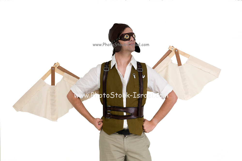 steampunk man with wings on white