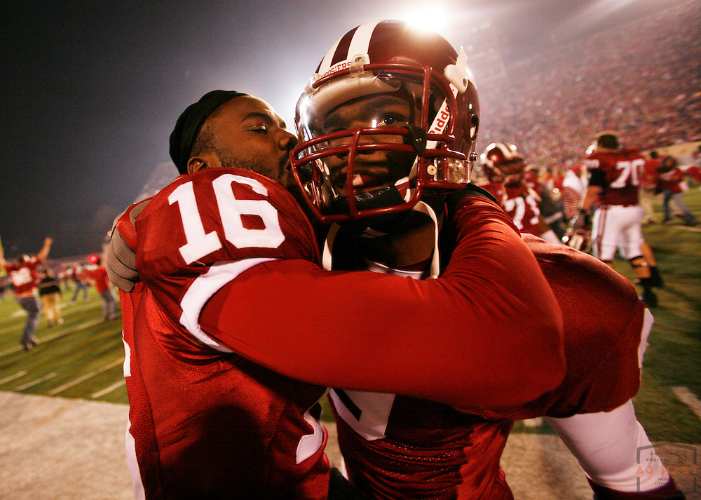 17 November 2007: Indiana cornerback Christopher Phillips (16) and Indiana cornerback Tracy Porter as the Indiana Hoosiers played the Purude Boilermakers in a college football game in Bloomington, Ind. Indiana won 27-24.