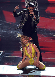 Britney Spears performs on stage with G-Eazy during the show at the MTV Video Music Awards 2016, Madison Square Garden, New York City.