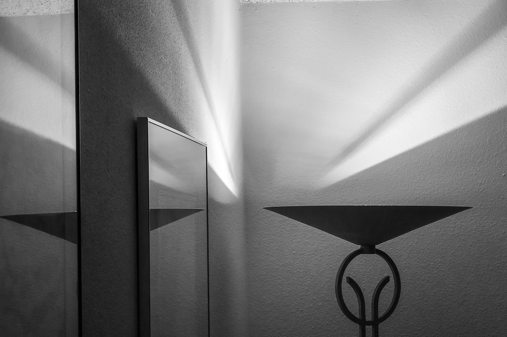 Floor lamp shadows and picture frames, abstract, November, private residence, Tacoma, Washington, USA