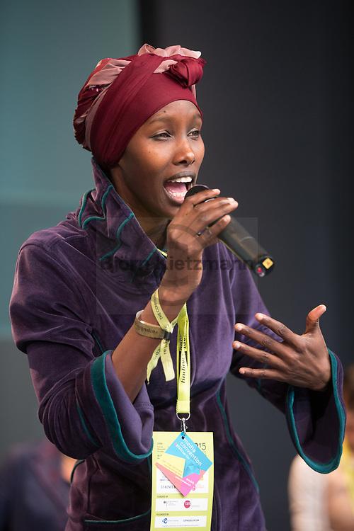 Berlin, Germany - 06.05.2015<br /> <br /> Fatuma Musa fled from Somalia to Germany, where she took part in a discussion on European refugee policy at the re:publica. Day two of the leading European net-conference re:publica 15 (#rp15) at Station Berlin.<br /> <br /> Fatuma Musa floh aus Somalia nach Deutschland, auf der re:publica nahm sie an einer Diskussion zur europaeischen Fluechtlingspolitik teil. Tag zwei der fuehrenden europaeische Netz-Konferenz re:publica 15 (#rp15) in der Station Berlin.<br /> <br /> Photo: Bjoern Kietzmann