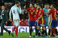 Eric Dier of England argues with Ander Herrera of Spain after full time claiming the Spaniard elbowed him in the face.  England v Spain, Football international friendly at Wembley Stadium in London on Tuesday 15th November 2016.<br /> pic by John Patrick Fletcher, Andrew Orchard sports photography.