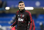 Manchester United Midfielder Andreas Pereira warm up during the The FA Cup 5th round match between Chelsea and Manchester United at Stamford Bridge, London, England on 18 February 2019.