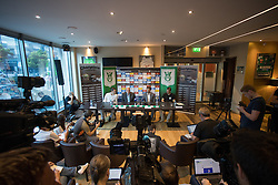 Nenad Protega, Milan Mandaric, Luka Elsner and Aljosa Vekic at press conference of NK Olimpija Ljubljana about new head coach Luka Elsner, on September 2, 2016 in Champions Lounge, Austria Trend Hotel, Ljubljana, Slovenia. Photo By Matic Klansek Velej / Sportida