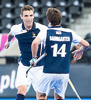 LONDON -  Unibet Eurohockey Championships 2015 in  London.  Russia v France. Victor Charlet  (l) from France scored 1-1. , and celebrates with  and Gaspard Baumgarten (r) .  WSP Copyright  KOEN SUYK