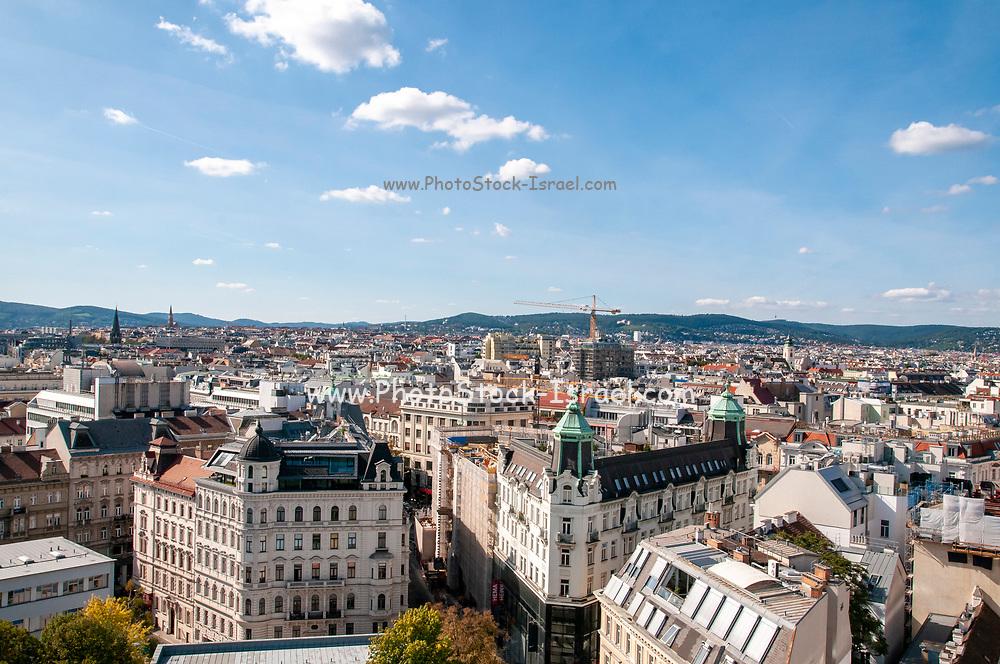 Vienna cityscape from the top of the Aquarium building, Esterhazy Park, Mariahilf, Vienna, Austria