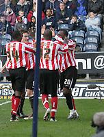 Photo: Mark Stephenson.<br />West Bromwich Albion v Sunderland. Coca Cola Championship. 03/03/2007. Sunderland's no 20 Stern John scores there 2 nd goal