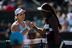 March 8, 2019 - Indian Wells, USA - Stefanie Voegele of Switzerland & Sloane Stephens of the United States at the net after their second-round match at the 2019 BNP Paribas Open WTA Premier Mandatory tennis tournament (Credit Image: © AFP7 via ZUMA Wire)