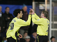 Photo: Lee Earle.<br /> Portsmouth v Manchester City. The Barclays Premiership. 10/02/2007.City's Michael Ball (R) congratulates Bernardo Corradi after his goal.