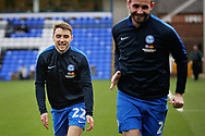 Peterborough Utd midfielder Darren Lyon (22) warming up before the EFL Sky Bet League 1 match between Peterborough United and Scunthorpe United at London Road, Peterborough, England on 1 January 2019.