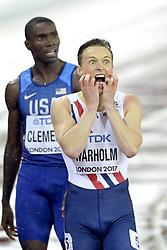August 9, 2017 - London, United Kingdom - Norway's KARSTEN WARHOLM reacts after winning the Men's 400m hurdles during the IAAF World Championships, at Queen Elizabeth Olympic Park. (Credit Image: © Joel Marklund/Bildbyran via ZUMA Wire)