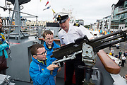 02/07/2017 REPRO FREE:  Adam and  Daniel Keane Ballinderreen with PO Stephean Campbell on Board the LE Ciara at Seafest 2017, the National Maritime Festival which  in Galway.<br /> . Photo:Andrew Downes, xposure .