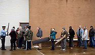 23 DEC. 2017 -- ST. LOUIS -- Participants line up for admission to the City of St. Louis gun buyback at the Omega Center in the Goodfellow Terrace neighborhood of St. Louis Saturday, Dec. 23, 2017. The city officials said they were offering cash to purchase guns, with no questions asked about the seller or the source of the weapons, with a $125,000 fund available for making purchases. Photo © copyright 2017 Sid Hastings.