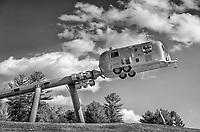 """Airstream Planetary Explorer"" sculpture by Edward Tufte at Hogpen Hill Farms, a sculpture museum in Woodbridge, Connecticut, U.S.A."