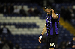 Bristol Rovers' Kaid Mohamed cuts a dejected figure as his side lose to Bury 2 - 1 - Photo mandatory by-line: Dougie Allward/JMP - Mobile: 07966 386802 01/04/2014 - SPORT - FOOTBALL - Bury - Gigg Lane - Bury v Bristol Rovers - Sky Bet League Two