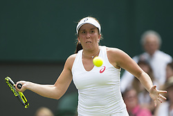 LONDON, July 5, 2017  Irina Falconi of the United States hits a return during the women's singles first round match against Angelique Kerber of Germany at the Championship Wimbledon 2017 in London, Britain, on July 4, 2017. Kerber won 2-0. (Credit Image: © Jin Yu/Xinhua via ZUMA Wire)