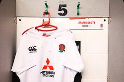 James Scott of England U20 shirt hung up in the dressing room - Mandatory by-line: Robbie Stephenson/JMP - 15/03/2019 - RUGBY - Franklin's Gardens - Northampton, England - England U20 v Scotland U20 - Six Nations U20