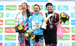 First placed Boels-Dolmans' Megan Guarnier (centre) second placed Team GB Cycling's Dani Rowe and third placed Canon Sram Racing's Alena Amialiusik for the overall classification during day two of the ASDA Women's Tour de Yorkshire from Barnsley to Ilkley.