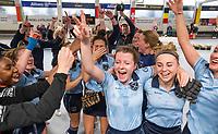 HAMBURG  (Ger) - Match 20,  for FINAL, LMHC Laren - Dinamo Elektrostal (Rus) (3-1).  Photo: European Champion , LMHC Laren.  Fabienne Roosen (Laren) , Bieke Wijnmaalen (Laren),  Lieke van Wijk (Laren)  Eurohockey Indoor Club Cup 2019 Women . WORLDSPORTPICS COPYRIGHT  KOEN SUYK