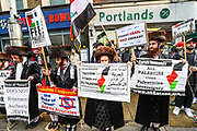 London, United Kingdom, May 15, 2021: Members of the Jewish community joined a pro-Palestinian rally outside the Israeli Embassy in central London on Saturday, May 15, 2021. This is the 3rd week of ongoing demonstrations across the United Kingdom with 25 demonstrations taking place across the country today. (Photo by Vudi Xhymshiti/VXP)