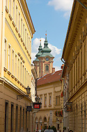 Baroque street with the towers of the Minorite Church - Eger Hungary .<br /> <br /> Visit our HUNGARY HISTORIC PLACES PHOTO COLLECTIONS for more photos to download or buy as wall art prints https://funkystock.photoshelter.com/gallery-collection/Pictures-Images-of-Hungary-Photos-of-Hungarian-Historic-Landmark-Sites/C0000Te8AnPgxjRg