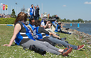 Brandenburg. GERMANY. Finald day, Photograhers gather near the finish line at the 2016 European Rowing Championships at the Regattastrecke Beetzsee<br /> <br /> Sunday  08/05/2016<br /> <br /> [Mandatory Credit; Peter SPURRIER/Intersport-images]