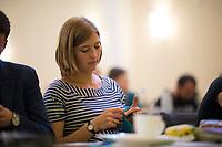 DEU, Deutschland, Germany, Berlin, 21.04.2018: Hanna Steinmüller, Beisitzerin im Landesvorstand, bei der Landesdelegiertenkonferenz von Bündnis 90/Die Grünen in Berlin-Adlershof.