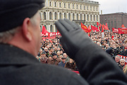Saint Petersburg, Russia, 07/11/2002..Cradle of the revolution - Communist supporters march and demonstrate in the city centre to mark the 85th anniversary of the Bolshevik revolution of October 1917.