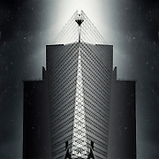 Manipulated photo of a skyscraper. Monochrome picture with textures.