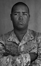 Lcpl. Miguel Terrazas, 20, El Paso, Texas, 3rd Platoon, Kilo Co., 3rd Battalion 1st Marines, 1st Marine Division, United States Marine Corps, at the company's firm base in Haditha, Iraq on Sunday Oct. 22, 2005.
