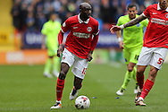 Alou Diarra of Charlton Athletic in action. Skybet football league championship match, Charlton Athletic v Brighton & Hove Albion at The Valley  in London on Saturday 23rd April 2016.<br /> pic by John Patrick Fletcher, Andrew Orchard sports photography.