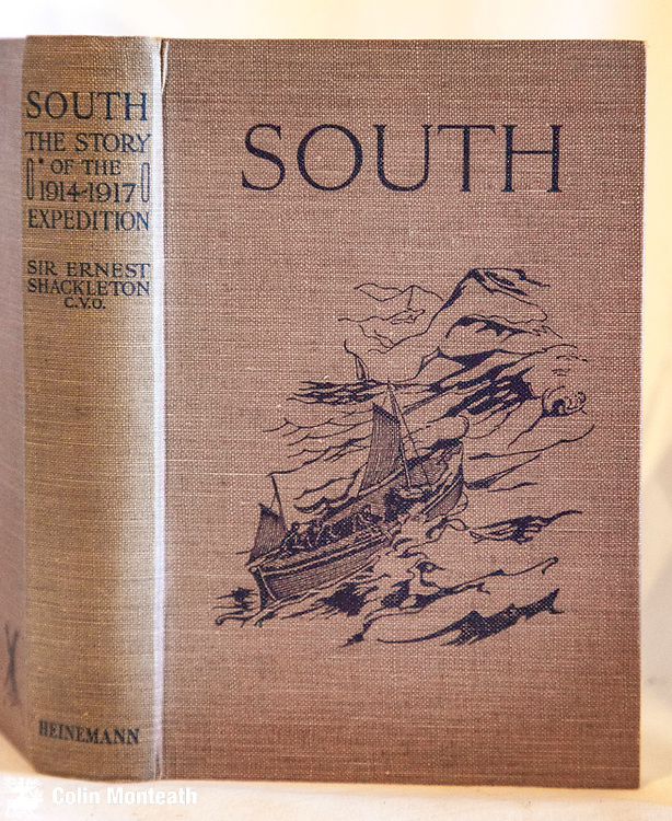 SOUTH - Sir Ernest Shackleton, Heinemann, London, 1923, ( originally published 1919) 200 page hardback with decorated covers / original beige cloth,  classic tale of the ill-fated British Trans-antarctic Expedition that foundered in the Weddell Sea - a lovely tight, crisp copy, rare so. - $NZ120