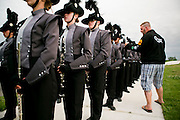 The Oregon Marching Band, collectively known as Shadow Armada, performs in Sun Prairie, Wisconsin on July 7, 2012.