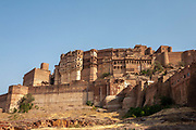 The Mehrangarh Jodhpur Fort on 5th November 2009, in Jodhpur, Rajasthan, India. Built in around 1459 by Rao Jodha, it is one of the largest forts in India, it is situated 410 feet 125m above the city and known for the intricate carvings and expansive courtyards within.