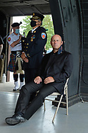 East Meadow, New York, U.S. September 10, 2020. PATRICK J. RYDER, Commissioner of the Nassau County Police Department, is seated on stage at right as Nassau County commemorates 19th anniversary of September 11 terrorist attacks with Remembrance Ceremony at Eisenhower Park, with names read of 348 county residents killed that day. Due to COVID-19 concerns, participants wore face masks when social distancing was not possible. Event was held at Harry Chapin Lakeside Theater, instead of 9/11 Memorial across the pond, because of rain prediction.