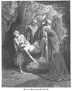 Jesus is Buried in the Tomb [Matthew 27:60-61] From the book 'Bible Gallery' Illustrated by Gustave Dore with Memoir of Dore and Descriptive Letter-press by Talbot W. Chambers D.D. Published by Cassell & Company Limited in London and simultaneously by Mame in Tours, France in 1866