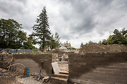 © London News Pictures. Pictured - The building work on the new Octagonal walled garden that is being built on the exact same site as the original. Previously unseen pictures of Beatrix potter with her family have been unearthed during the purchase and restoration of the Lingholm Estate, the Potter family holiday home, where Beatrix potter drew inspiration for many of her most famous characters. Famous books such as Peter Rabbit and Squirrel Nutkin were inspired by the surroundings of the Cumbria estate, which is being opened to the public for the first time. Photo credit: Andrew McCaren/LNP WORDS AVAILABLE HERE http://tinyurl.com/oyb7url