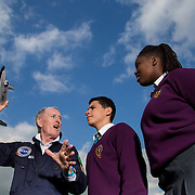 05.10.2016       <br /> European Space Education Resource Office (ESERO) Ireland and the CEIA – Cork's Technology Network – are calling on secondary school students to take their first step into the world of space exploration. Teams of senior cycle students from across Ireland are being asked to design, build and launch mini-satellites in the shape of a soft drink can as part of the ESERO Ireland and CEIA CanSat Competition. <br /> <br /> Pictured at the launch were, Limerick man Cyril Bennis, Space Tourist with Thomond Community College students, Tyreak Chaddad and Raissa Pululu at Limerick Institute of Technology.<br /> <br /> The competition, now in its seventh year, was officially launched today (Wednesday) in Limerick Institute of Technology by 'space tourist' and Limerick man Cyril Bennis, as part of National Space Week. Picture: Alan Place