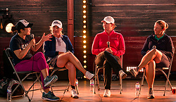 Pictured: Fringe by the Sea, North Berwick, East Lothian, Scotland, United Kingdom, 06 August 2019. Top female golfers competing in the Aberdeen Standard Investments Ladies Scottish Open this week appear on a panel and take questions from the audience, as part of a podcast called On the Dance Floor. Pictured: from L to R Tiffany Joh (USA), Bronte Law (UK), Caroline Masson (Germany), Angela Stanford (USA).<br /> <br /> Sally Anderson | EdinburghElitemedia.co.uk