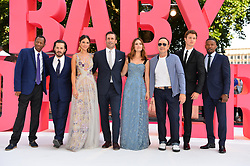 (left to right) CJ James, Edgar Wright, Eiza Gonzalez, JOn Hamm, Lily James, Kevin Spacey, Ansel Elgort and Jamie Foxx attending the Baby Driver premiere held at Cineworld in Leicester Square, London.