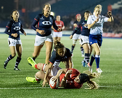 Bethan Lewis of Wales Women scores her sides fourth try<br /> <br /> Photographer Simon King/Replay Images<br /> <br /> Friendly - Wales Women v Hong Kong Women - Friday  16th November 2018 - Cardiff Arms Park - Cardiff<br /> <br /> World Copyright © Replay Images . All rights reserved. info@replayimages.co.uk - http://replayimages.co.uk