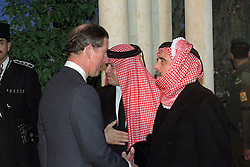 King Abdullah bin Al Hussein (right) receives condolences from Prince Charles (Prince of Wales) during funeral in Amman, Jordan on February 8, 1999. Twenty years ago, end of January and early February 1999, the Kingdom of Jordan witnessed a change of power as the late King Hussein came back from the United States of America to change his Crown Prince, only two weeks before he passed away. Photo by Balkis Press/ABACAPRESS.COM