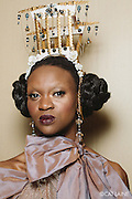 PROVIDENCE, RI - FEB 20: Vonetta Cabral backstage prior to the Jonathan Joseph Peters show during StyleWeek NorthEast on February 20, 2015 in Providence, Rhode Island. (Photo by Cat Laine)