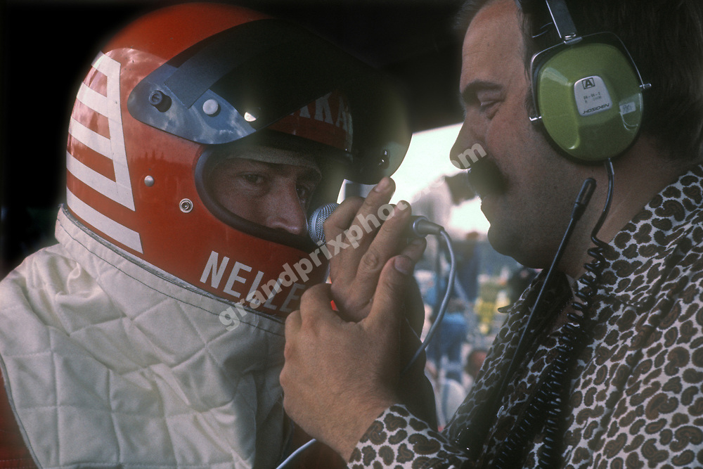 Jac Nellemann (RAM Brabham-Ford) interviewed by Svenerik Eriksson after qualifying for the 1976 Swedish Grand Prix in Anderstorp. Photo: Grand Prix Photo