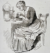 Woman at work on a wood block illustration. Engraving 1885.